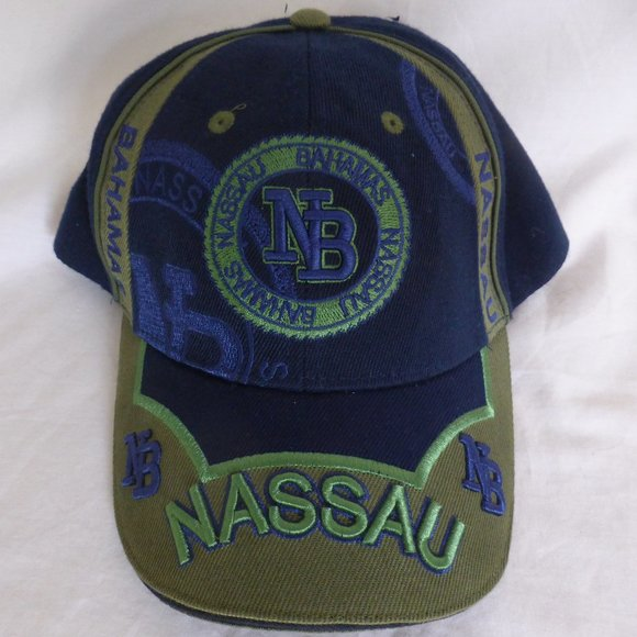 NASSAU BAHAMAS, blue and olive color baseball cap